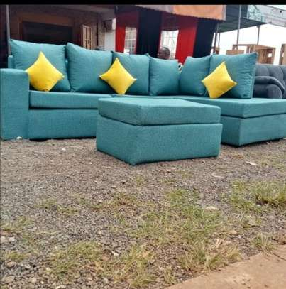 l-shaped  6 seater back pillowed couch image 1