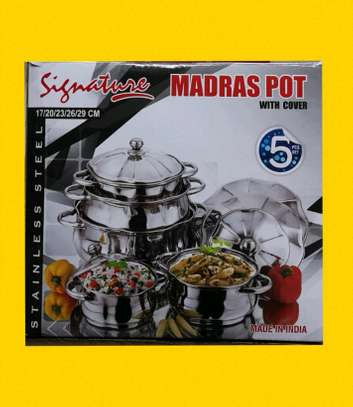 5pc Stainless Steel Madras Pots image 1