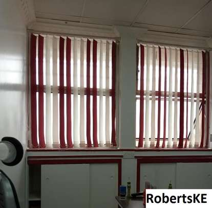 red and white vertical office blind image 1