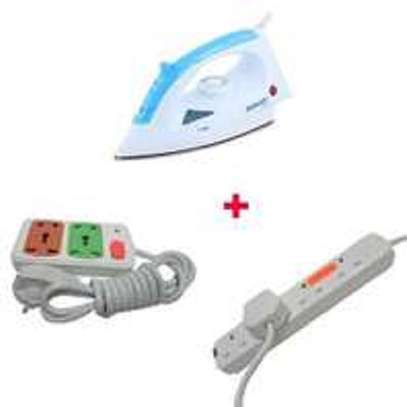 Scarlett Iron Box with 2 Free Red Lable 4-way And Small Socket Extension Cable - 1200W - White & Blue image 1