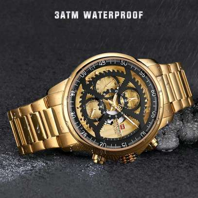 Men Fashion Luxury Quartz Wristwatch Male Casual Waterproof Clock Gold Watch image 4