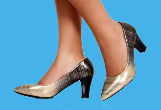 Women's Chunky Block High Heels Pumps Closed Pointed Toe image 2
