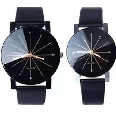 Couple Watches Quartz Dial Leather Watch.