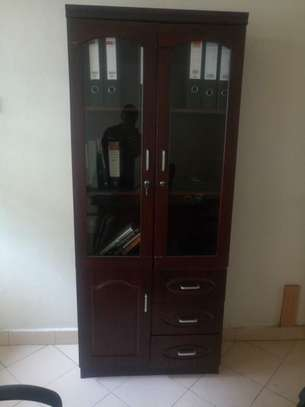 Doubled Door Wooden filing cabinet with Glass image 2