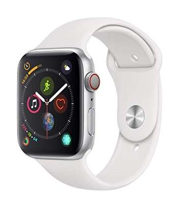 Apple Watch Series 4 (GPS + Cellular, 44mm) - Silver Aluminum Case with White Sport Band image 1