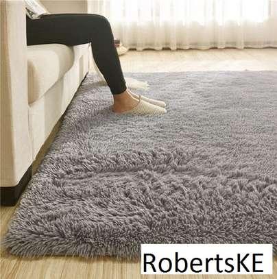 grey fluffy anti-slip carpet 7*10 image 1