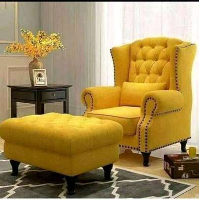 New modern wing chair with footrest image 1