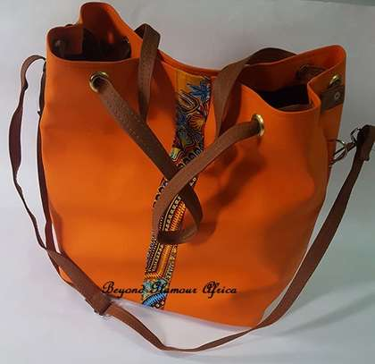 Ladies Orange Leather Handbag With Ankara Strip image 1