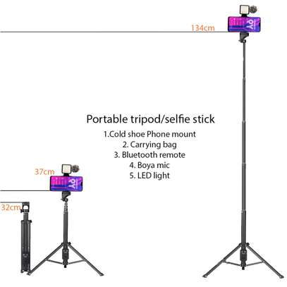 Mojo Kit with Portable Tripod/Selfie Stick + Phone Mount + Boya Mic + BT Remote + LED Light + Carrying Bag