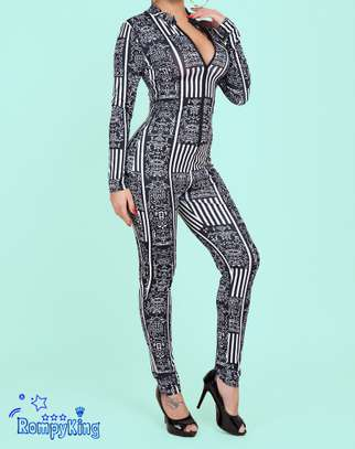 Fashion RK Black Round Neck Zip-up Stretch-African Jumpsuits image 5