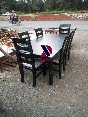 Black rectangular 6 seater dining table sets image 4