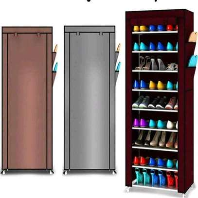 10-Tier Canvas Fabric Shoe Rack Storage Cabinet image 3