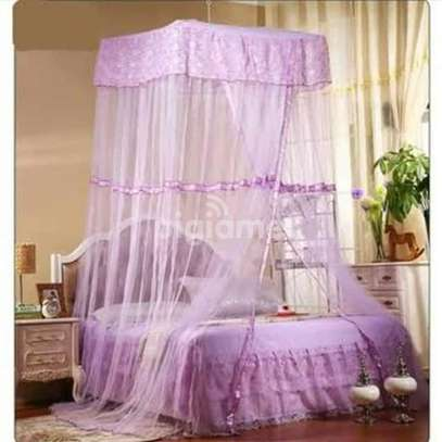 Square Top Mosquito Net Free Size For Double Decker And All Types Of Beds - Purple