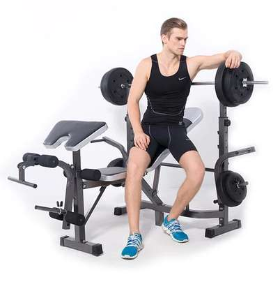 Work out bench with Incline + Bar + 50kg Weights