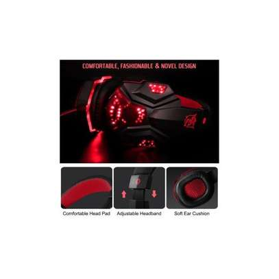 Plextone Gaming Headset for PS4 X Box Laptop Noise Isolation Gaming Headphones - Black and red) image 2