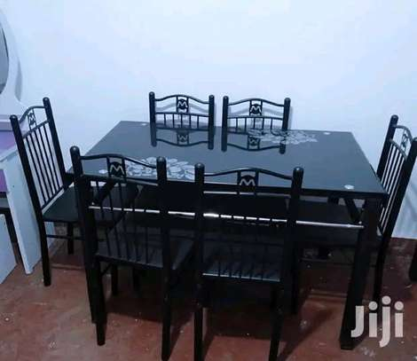 Home gift 6 dining room table with 6 padded chairs R32W image 1