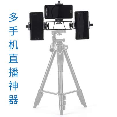 YUNTENG VCT-6808 Multi-functional Tripod for Phone with 3 Phone Holders 4-Section Telescoping Tripod Ball Head Remote Controller image 11