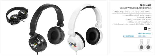 Disco Wired Headphones Branded image 2