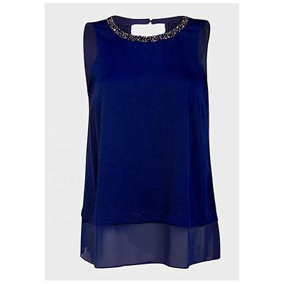 Chiffon Top With Beaded Collar Detail. image 1
