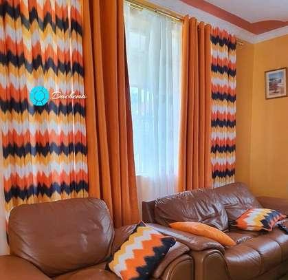 orange customized double sided curtains image 1