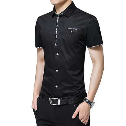 Formal Plain Top T Shirts-Black image 1