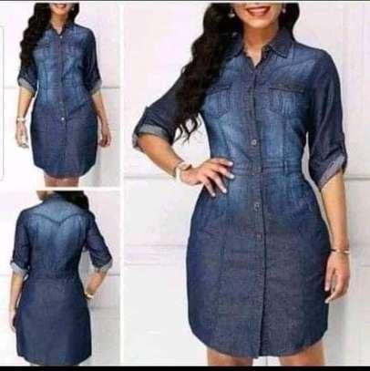 Short denim dress image 1