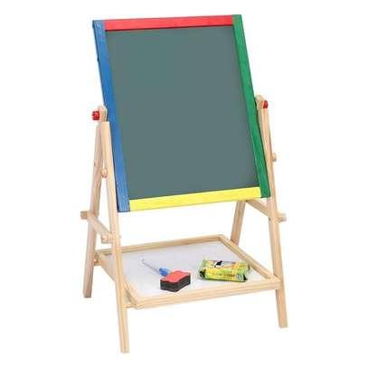 2 in 1 Wooden Kids Easel Blackboard Whiteboard Drawing Writing Chalk Board image 6