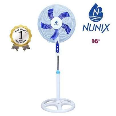 """Nunix Standing Fan, 16"""" - White & Blue image 1"""