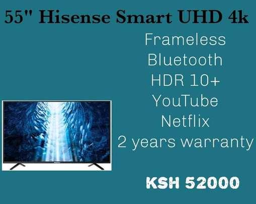 55 inch Hisense UHD 4K LED Frameless Bluetooth +Free Wall Mount image 1