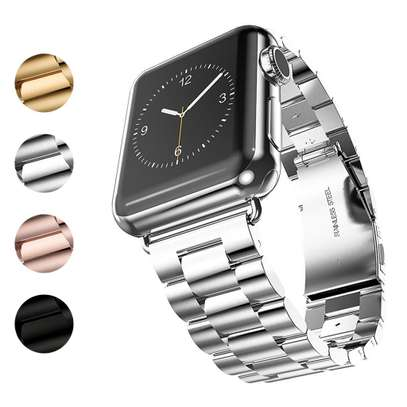 Stainless Steel Three-bead strap For Apple Watch 42mm 38mm 1/2/3/4 Metal Watchband Bracelet Band image 2