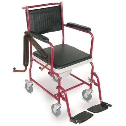 Commode seat with wheels movable armrest image 2