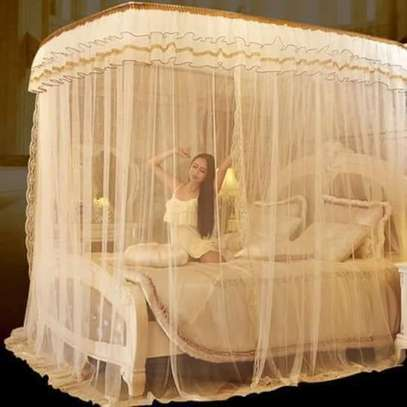 2 Stand Mosquito Net with Sliding Rail 6 by 6 - Cream image 1
