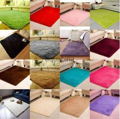 large soft fluffy plain color carpet 5*8 image 1