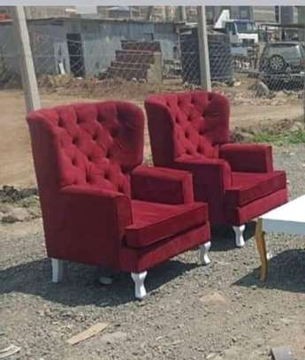 Dark maroon Chesterfield wing chairs image 1