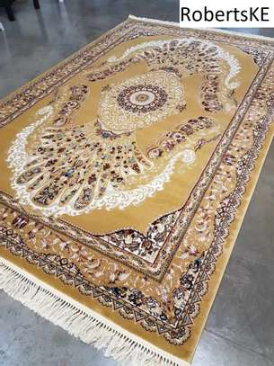 brownish-beigish patterned persian carpet 5by8 image 1