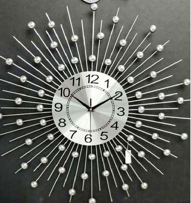 Sunburst Analog Black Clock With Crystal image 1