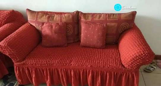 red 7 seater elastic sofa covers image 1