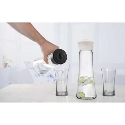 Carafe Glass Water With Lid And Protective Base, EZ Pour Drip Spout 1030 cc image 1