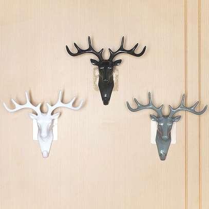 Generic Dear Head Wall Hanger Animal Antler Self Adhesive Door Hook Bag Keys Sticky Holder Home Décor Rack image 1
