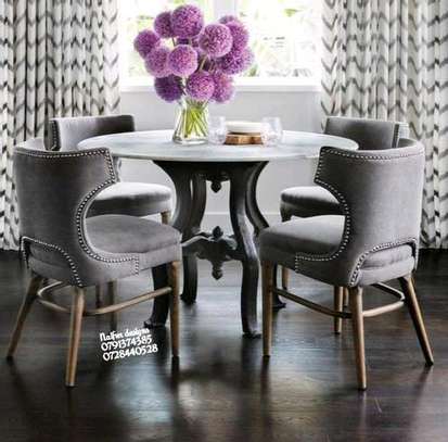 Modern grey dining chairs/four seater dining set image 1