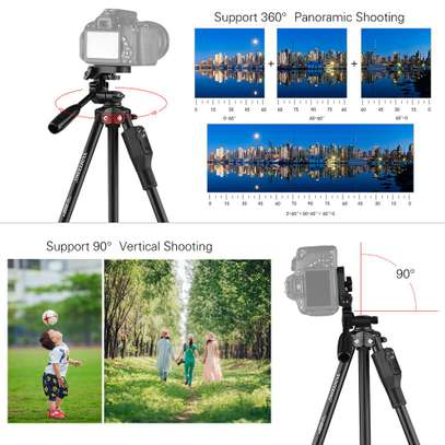 YUNTENG VCT-6808 Multi-functional Tripod for Phone with 3 Phone Holders 4-Section Telescoping Tripod Ball Head Remote Controller image 5