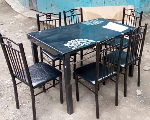 An attractive 6 seater dining set table with black finish image 1