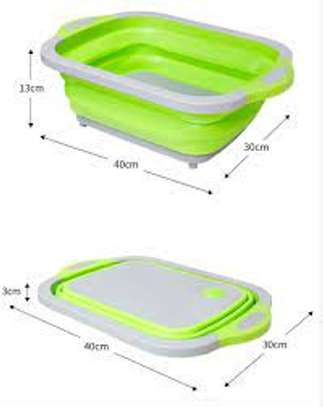 3 in 1 Collapsible Cutting Board with Colander Vegetable Fruits Cutting Board,Foldable Washing Basin, Portable Dish Washing Tub, Drain Sink Storage Basket for Home Kitchen Outdoor Camping (Green) image 3