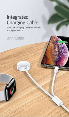 USAMS  2 in 1 USB Lighting Cable with Apple Watch Wireless charger image 3