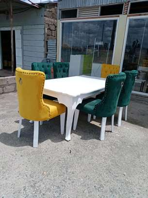 Six seater dining table set/modern white rectangular dining tables for sale in Nairobi Kenya/latest dining table designs/tufted fabric dining chairs for sale in Nairobi Kenya/best dining table makers in Nairobi Kenya/Customized Furniture designs/Nairobi Furniture image 1