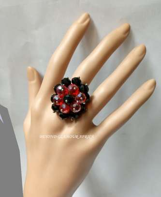Red Flower Shaped Crystal Metal Band image 1