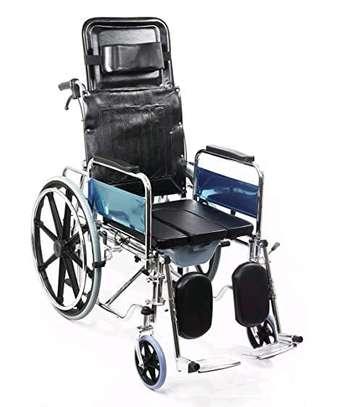 Reclining commode wheelchair/toilet image 2