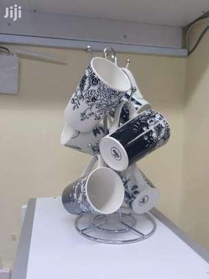 Black Themed Mugs 6 Pieces Set image 1