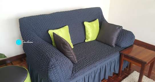 dark grey 7 seater elatic sofa cover image 1