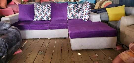 Purple and cream L seat image 1